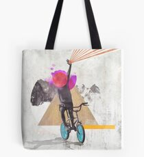 Rainbow child riding a bike Tote Bag