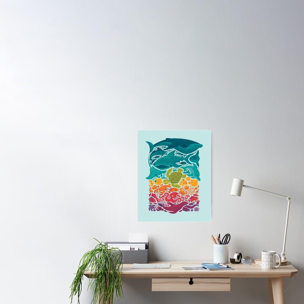 Aquatic Spectrum : Light blue Poster