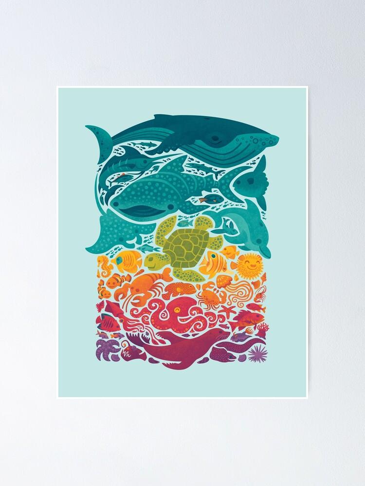 Alternate view of Aquatic Spectrum : Light blue Poster