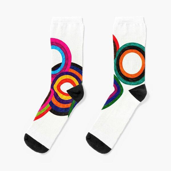 Heathered Circles Doodle Art Socks