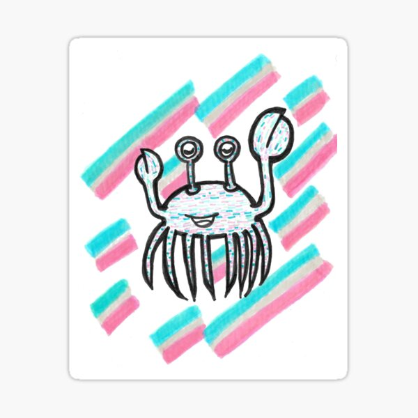 Trans Crab Sings Sticker