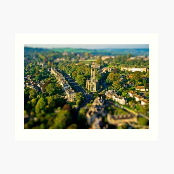 St Stephen's Church - Aerial Tilt-shift Image of Bath, Somerset, UK  Art Print