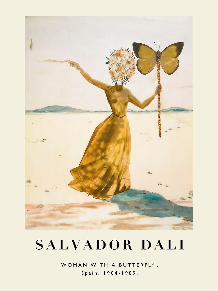 Vintage poster-Salvador Dali-Woman with a butterfly. by WhiteSheet