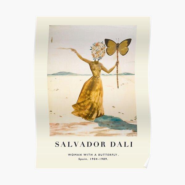 Affiche ancienne-Salvador Dali-Femme avec un papillon. Poster