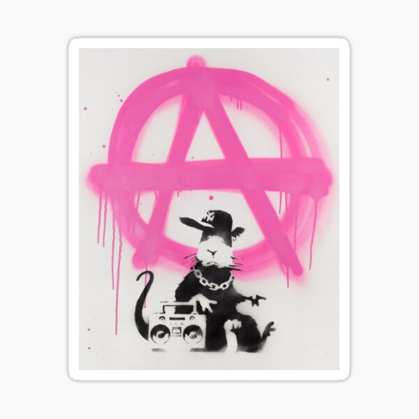 BANKSY - Gangster Rat Anarchy Sign Graffiti Spray Paint - 2006 Sticker