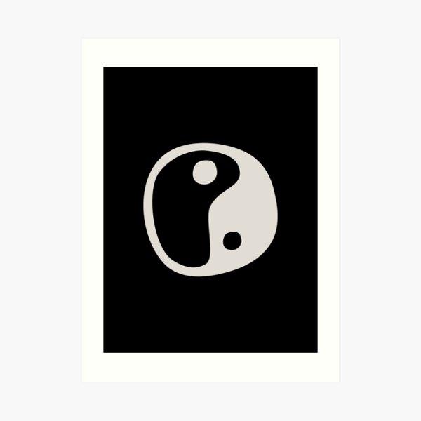 Yin Yang Symbol Black and Beige Minimalist Abstract Art Print