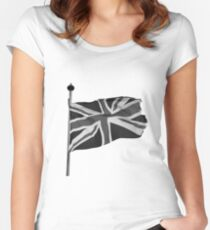 Great Britain flag, union jack Black & White Women's Fitted Scoop T-Shirt