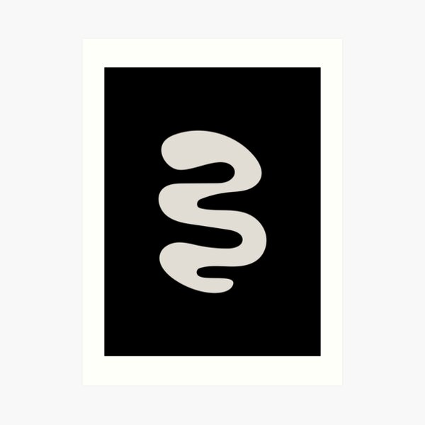 Minimalist Black and Beige Abstract Curvy Shape Design Art Print