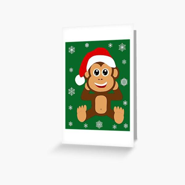 Weihnachtsmann Schimpanse Affe Santa Illustration Grußkarte