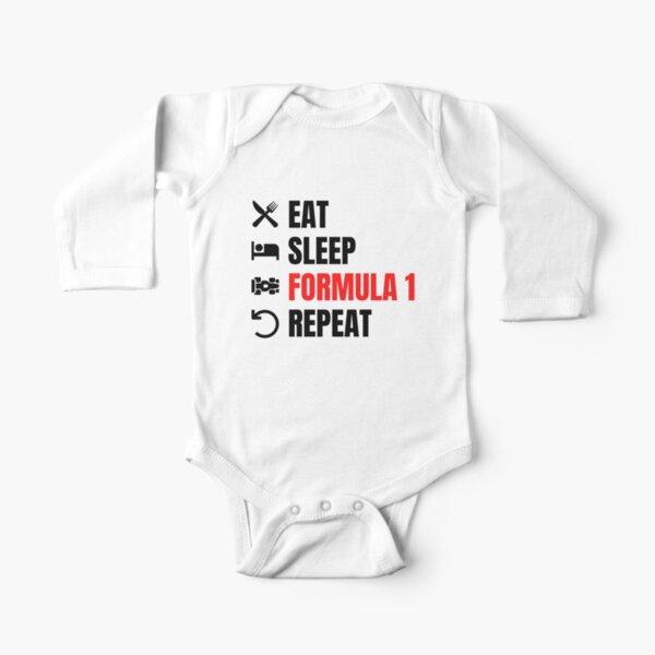 Eat Sleep Formula 1 Repeat Red Long Sleeve Baby One-Piece