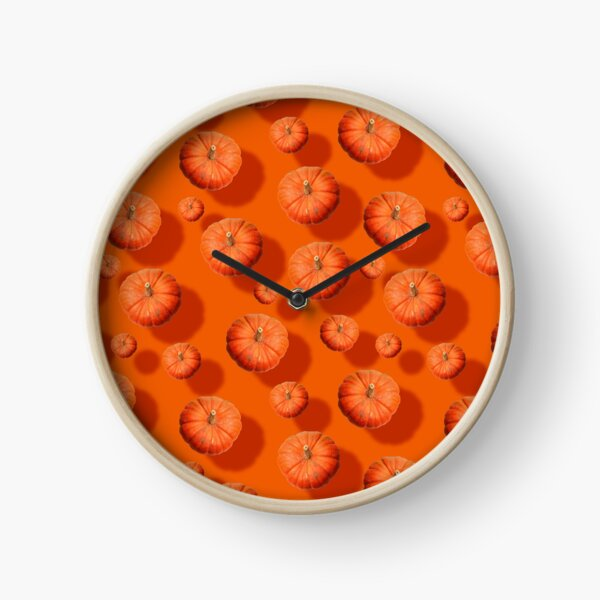 Flying orange pumpkins photo and pattern Clock