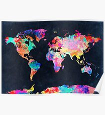 World Map watercolor 2 Poster