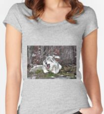 Just Yawning - Timber Wolf Women's Fitted Scoop T-Shirt