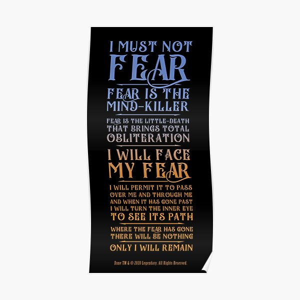Litany Against Fear - Dune 2021 Poster