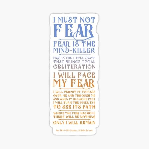 Litany Against Fear - Dune 2021 Sticker