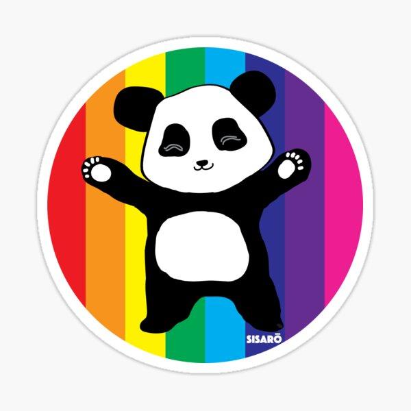 Rainbow Panda Hugs Sticker