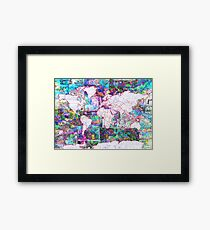 world map collage 3 Framed Print