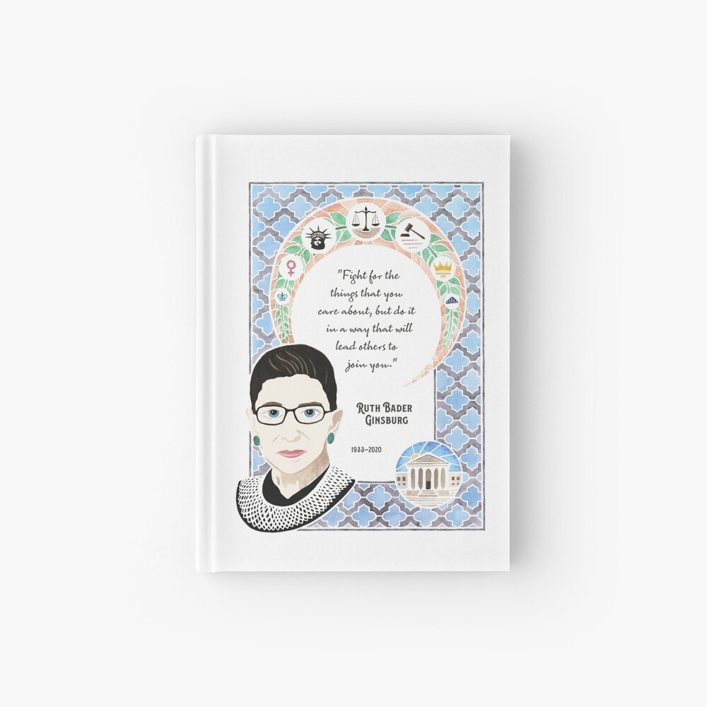 Ruth Bader Ginsburg Tribute Watercolor Painting Hardcover Journal