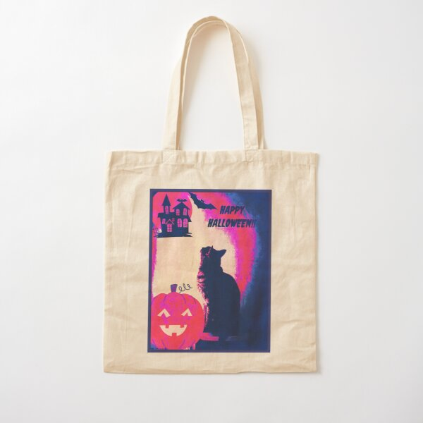 Purple Halloween Cat Art Cotton Tote Bag