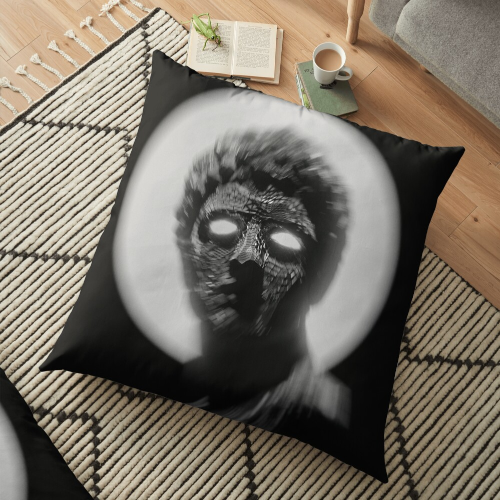 BLACK AND WHITE STATUE WITH GLOWING EYES  Floor Pillow