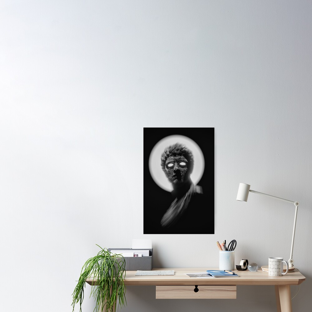 BLACK AND WHITE STATUE WITH GLOWING EYES  Poster