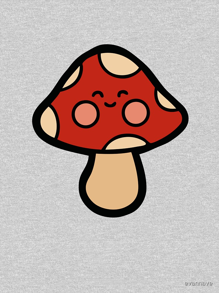 Happy Mushroom Pattern on Orange by evannave