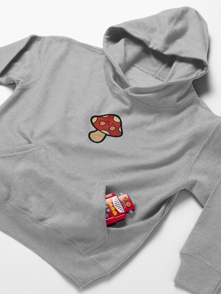 Alternate view of Happy Mushroom Pattern on Orange Kids Pullover Hoodie
