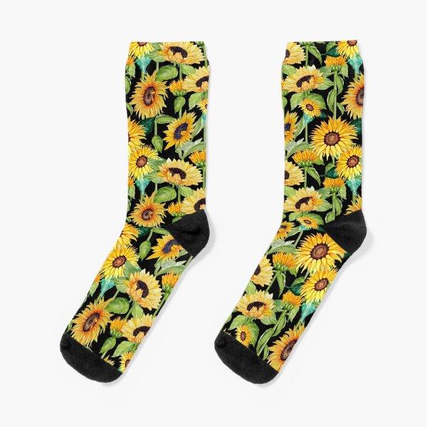 Sunflower watercolor floral on black Socks