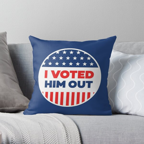 I Voted - Blue Circle Throw Pillow