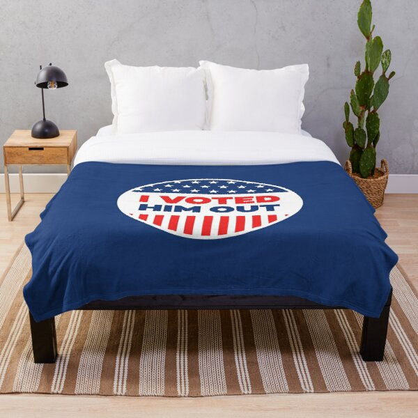 I Voted - Blue Circle Throw Blanket