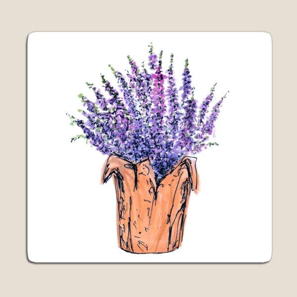 Lavender Lilac Wildflowers Floral Watercolor Pen Sketch  Magnet