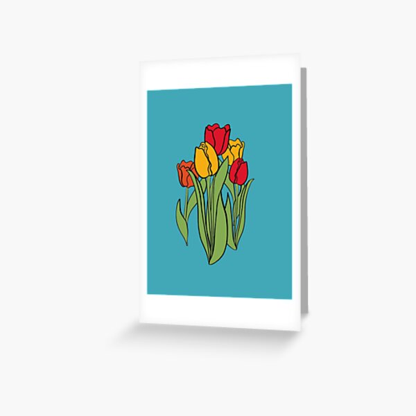 Red Orange Yellow Colour Tulips on Cyan, Green, Floral Design, Floral decor, Digital Drawing Greeting Card