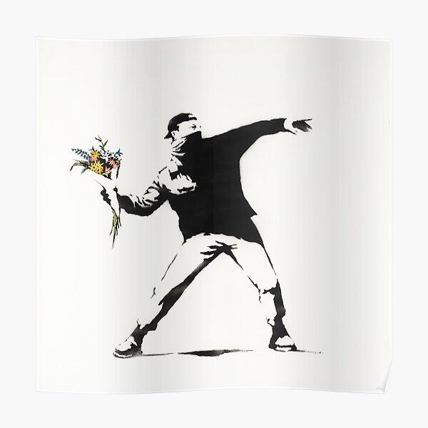 BANKSY Street Art Love is in the Air - Flower Thrower Poster