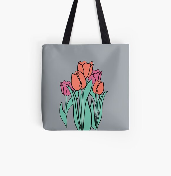 Pink Salmon Tulips, Floral Design,Grey  Flower Decor All Over Print Tote Bag