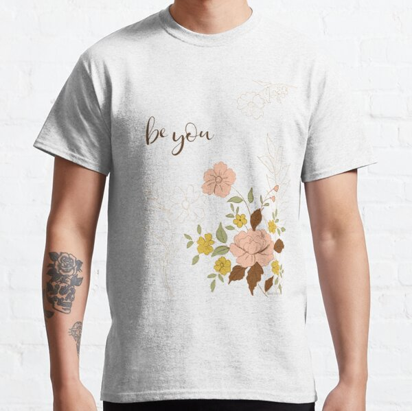 Be You Pink and Yellow Floral Line Art by Terri Conrad Classic T-Shirt