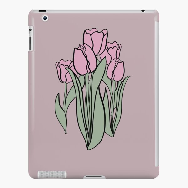 Lilac and Smoke Green Colour Tulips on Violet Ice Background, Floral design, Flowers, Floral Decor iPad Snap Case