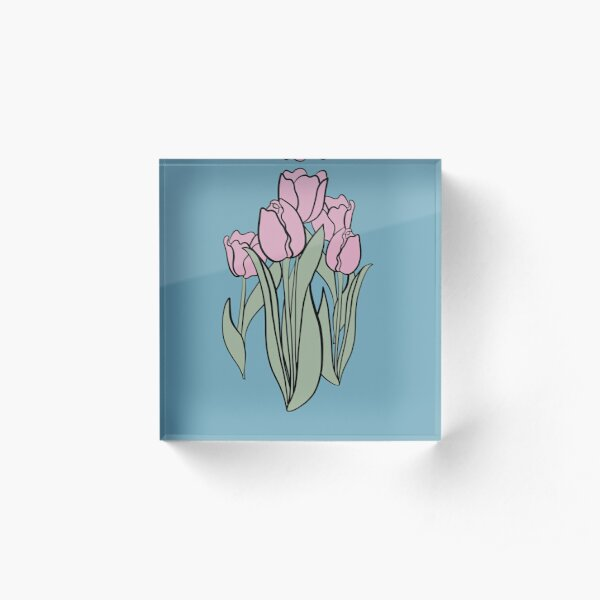 Lilac and Smoke Green Colour Tulips, Milky Blue Background, Floral design, Flowers, Floral Decor Acrylic Block