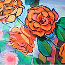 Orange Rose Bush Painting by MikeJory