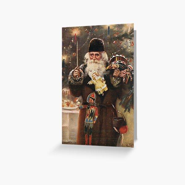 """Loving Christmas Greetings"" Vintage Santa Christmas Postcard Greeting Card"