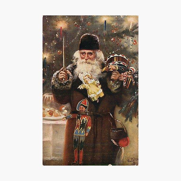 """Loving Christmas Greetings"" Vintage Santa Christmas Postcard Photographic Print"