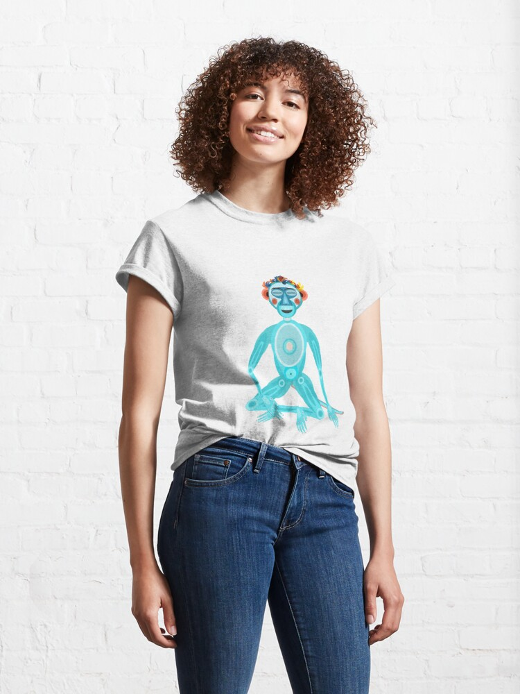 Alternate view of MOONKEY the Monkey - MEDITATION - BREATH Classic T-Shirt