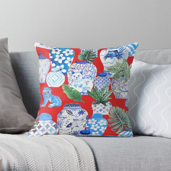 ginger jars in blue and white porcelain  and foo dogs on red with palms Throw Pillow