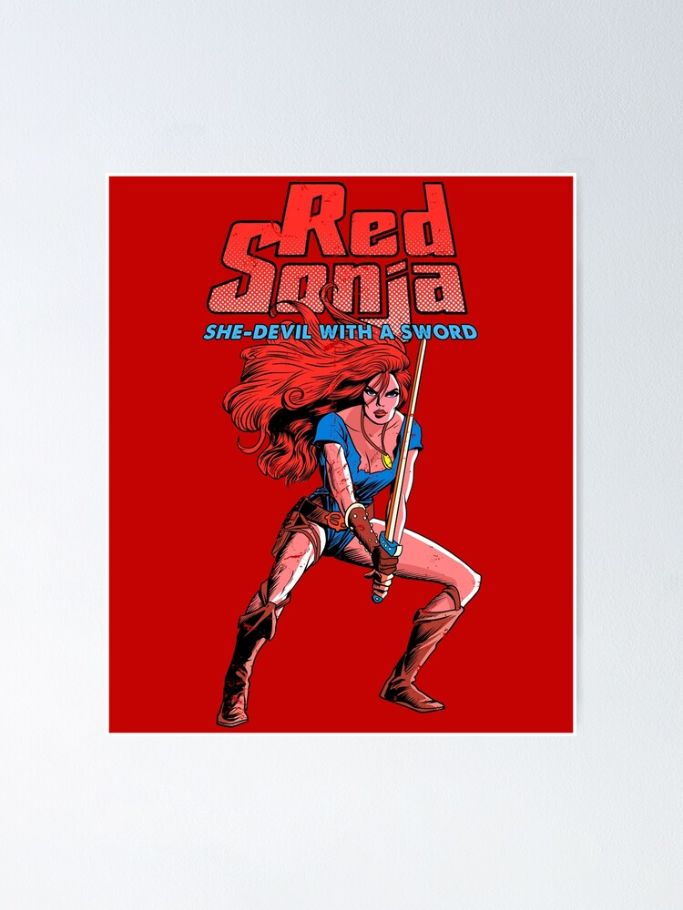 Vintage Red Sonja Poster By Oniside Redbubble