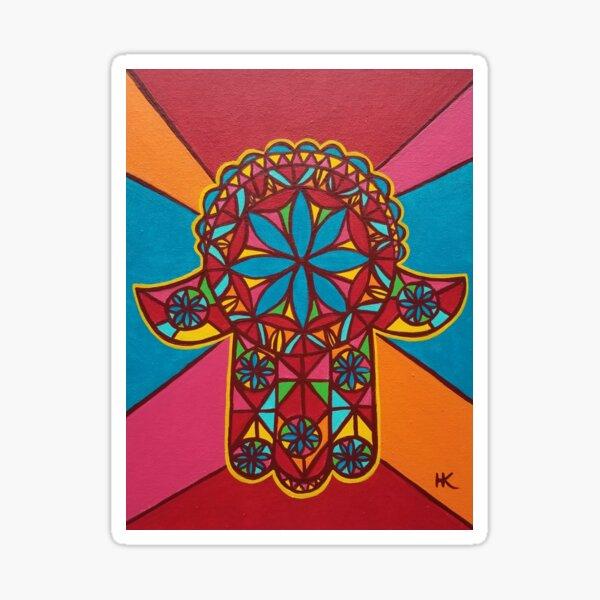 Flower Power Hamsa by Harriette Knight Sticker