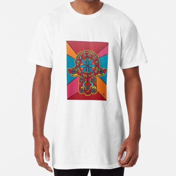Flower Power Hamsa by Harriette Knight Long T-Shirt