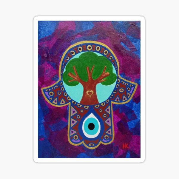 Tree of Life Hamsa with Evil Eye by Harriette Knight Sticker