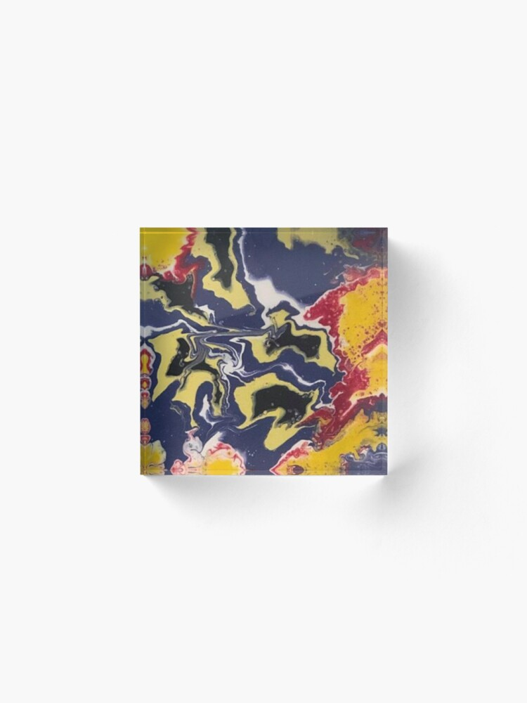 Alternate view of Peace Love & Happiness-Abstract Painting Acrylic Block
