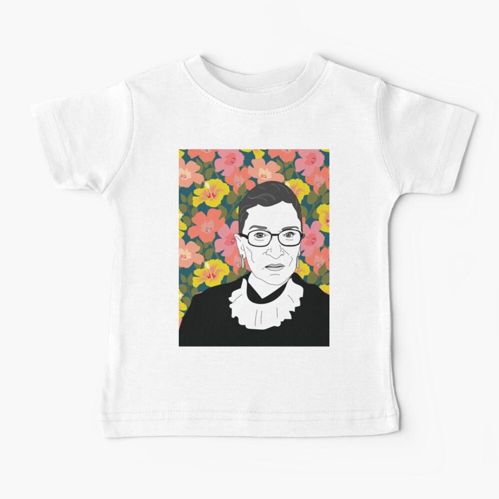 Ruth bader Ginsburg Floral Baby T-Shirt