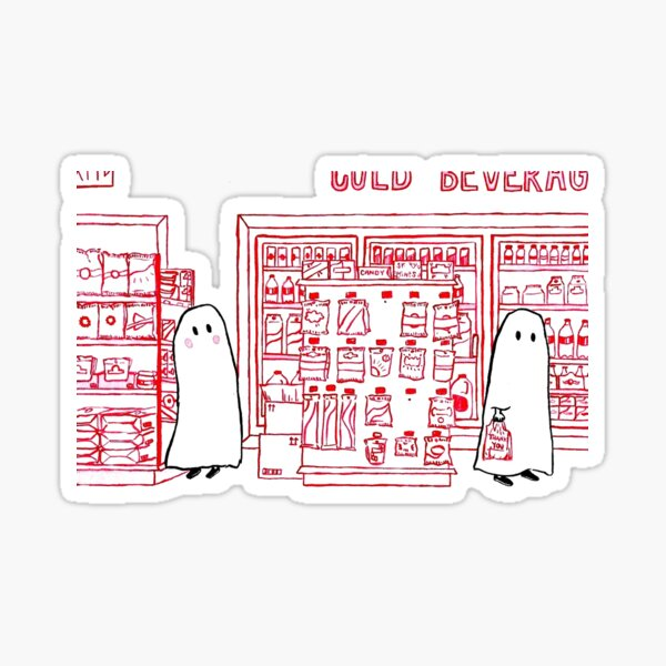 Two Ghosts in a Convenience Store Sticker