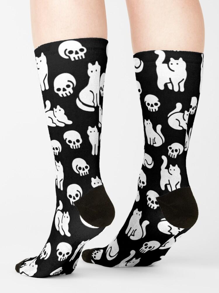 Alternate view of Cats and Skulls Pattern Socks